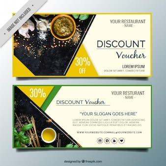Abstract restaurant discount banners