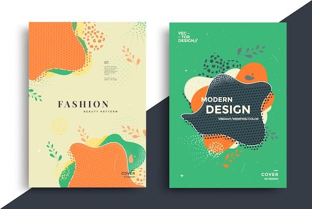 점과 선이 있는 액체 모양 벡터 구성이 있는 추상 복고풍 아트 포스터 디자인
