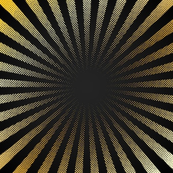Abstract retro black background with halftone sunburst