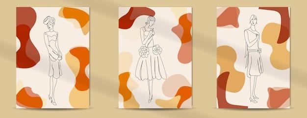 Абстрактная ретро мода женщины линии искусства обложки фон середины века