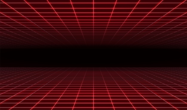 Abstract retro futuristic red laser grid background.