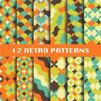 Abstract retro geometric patterns set