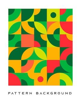 Абстрактные ретро геометрические формы фон зеленый и оранжевый цвет.