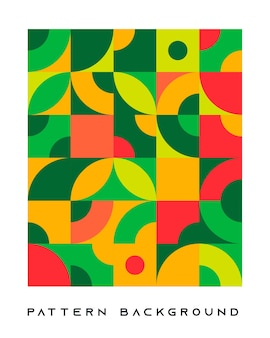 Abstract retro geometric shape background green and orange color.