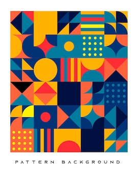 Abstract retro geometric shape pattern background blue and orange color.