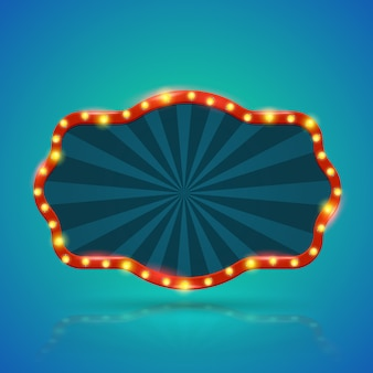 Abstract retro light banner with light bulbs on the contour