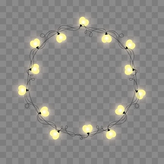 Abstract retro light frame. realistic color garlands, festive decorations. glowing lights isolated on transparent checkered. vector illustration.