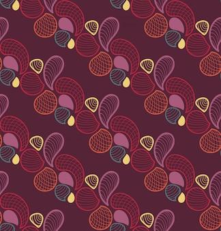 抽象的なレトロなシームレスパターン無限の華やかな背景。