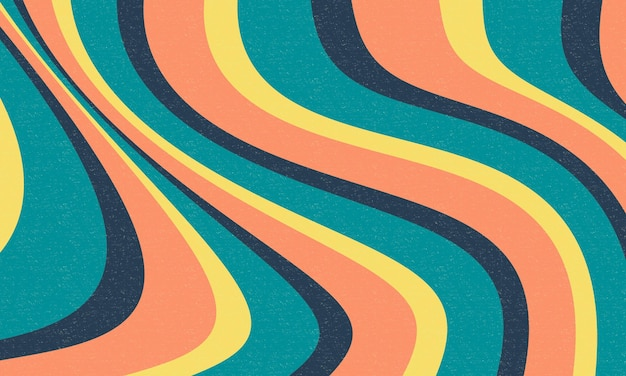 Abstract retro wavy groovy background design