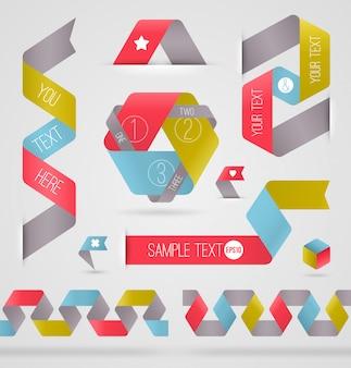 インフォグラフィックの抽象的なリボン色形状