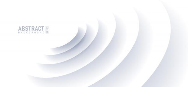 Абстрактный волновой эффект на белом фоне. круг формы с тенью в стиле бумаги вырезать.