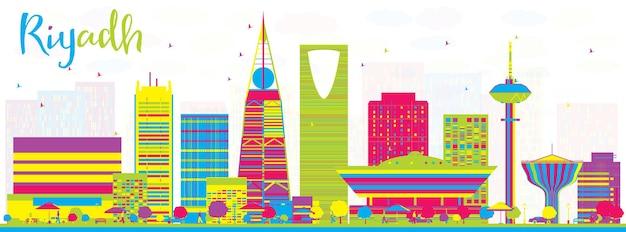色の建物と抽象的なリヤドサウジアラビアの街のスカイラインベクトル図