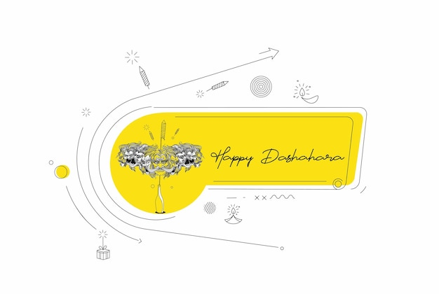 Abstract rocket firecrackers in a pot with ravana ten heads with text happy dussehra - poster banner vector design.
