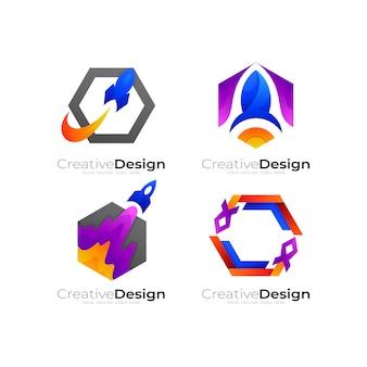 抽象的なロケットのロゴと六角形のデザインの組み合わせ