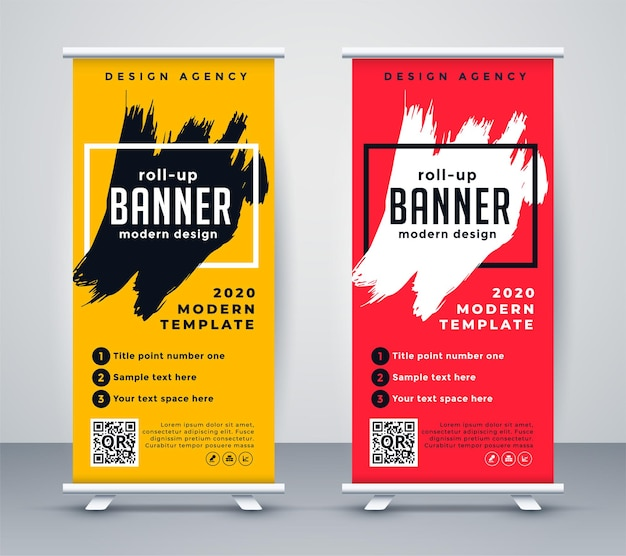 Abstract roll up banner standee template design