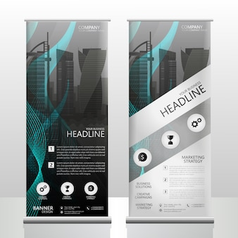 Abstract roll up brochure flyer design with a vector city wallpaper