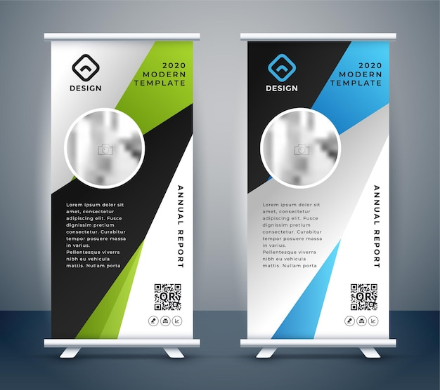Abstract roll up display standee banner modello