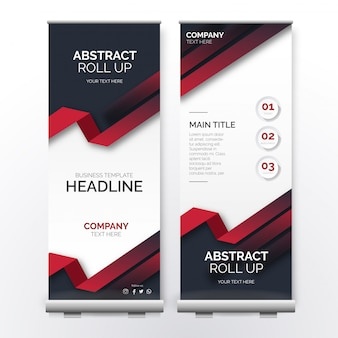 Abstract roll up template with red shapes