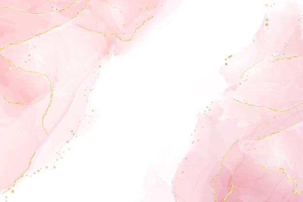 金色の線のドットと汚れと抽象的なバラの赤面液体水彩背景