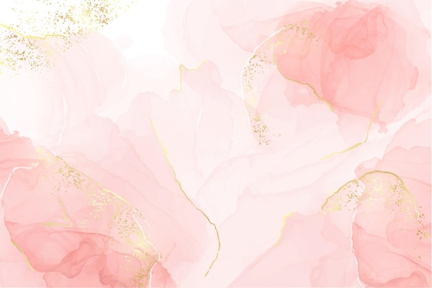Abstract rose blush liquid watercolor background with golden lines dots and stains