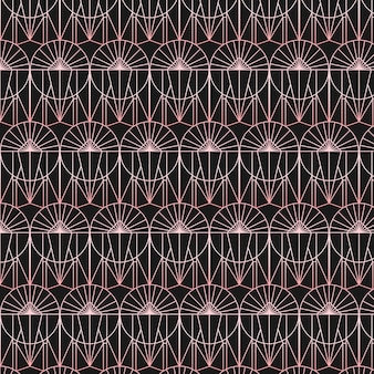 Abstract rose gold shaped art deco seamless pattern