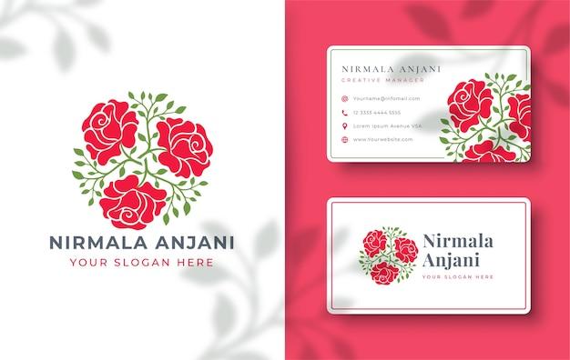 名刺と抽象的なバラのロゴのデザイン