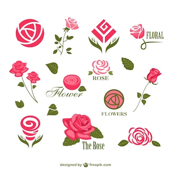 Abstract rose logos