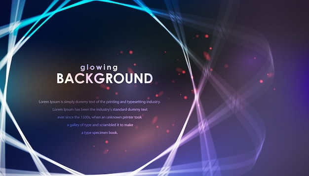 Abstract rotating glow lines over blue background