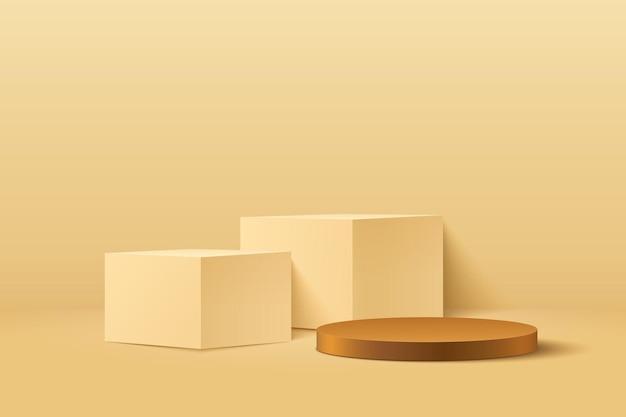 幾何学的形状を黄色と茶色にレンダリングする抽象的なラウンドとキューブステージの3d。