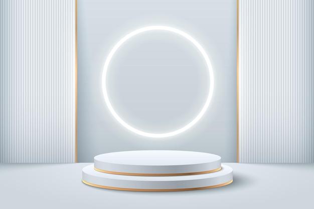 제품에 대한 추상 라운드 디스플레이. 미래의 3d 렌더링 기하학적 모양 실버 색상입니다.