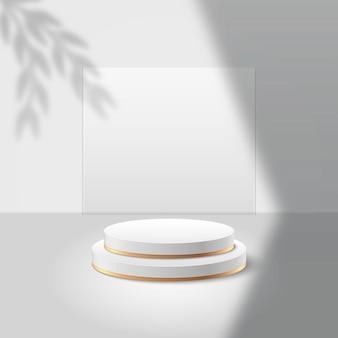 제품에 대한 추상 라운드 디스플레이. 기하학적 형태의 최소한의 장면. 실린더 연단