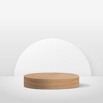 제품에 대한 추상 라운드 디스플레이. 기하학적 형태의 최소한의 장면. 실린더 나무 연단