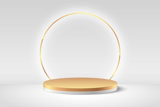 抽象的な丸い表示。豪華な表彰台と最小限の白と金色のテクスチャの壁のシーン、3dレンダリングの幾何学的形状。