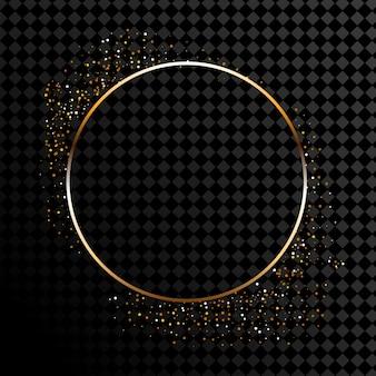 Абстрактные круглые светящиеся огни и золотые блестки на прозрачном фоне.