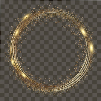 Abstract round glowing lights and gold sparkles on transparent background