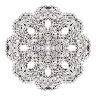 抽象的な丸いレースのデザインの曼荼羅、装飾的な要素