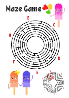 Abstract round maze. kids worksheets. activity page. game puzzle for children.