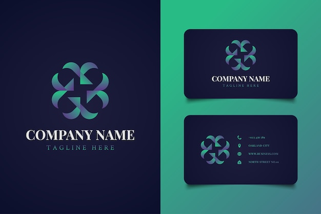 Abstract round ornament logo in colorful gradient concept with business card template, suitable for hotel logo, spa, cosmetic, or anything related to nature
