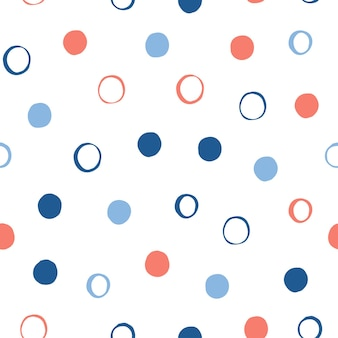 抽象的な丸いシームレスパターンの背景。デザインカード、壁紙、アルバム、スクラップブック、ホリデーラッピングペーパー、テキスタイルファブリック、バッグプリント、tシャツなどの幼稚なシンプルなアプリケーションの幾何学的なカバー。