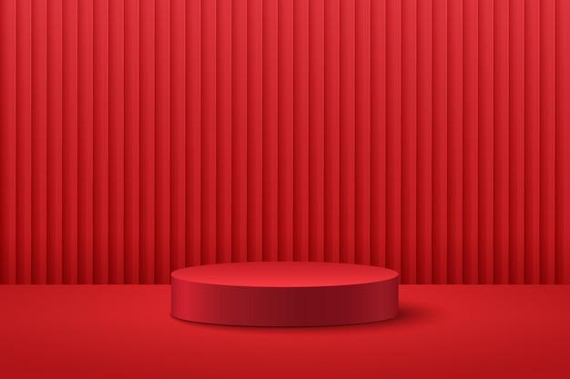 Абстрактный круглый этап 3d-рендеринга геометрической формы темно-красного цвета.