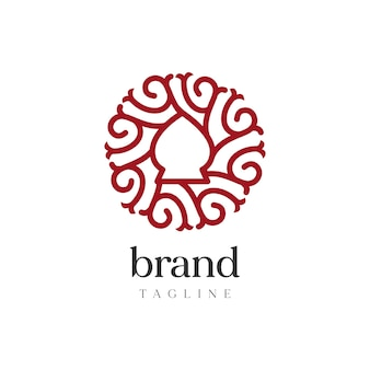 抽象的な丸みを帯びたロゴ、ヴィンテージのロゴのフォーマルなスタイル。