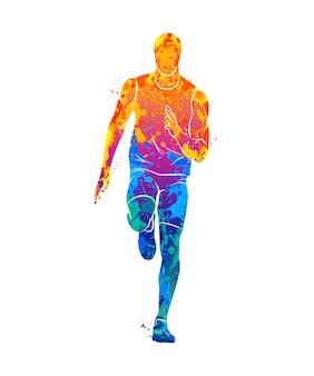 Абстрактные бегунов на короткие дистанции спринтер от всплеск акварели. иллюстрация красок.