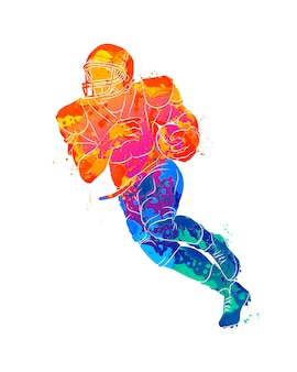 Abstract running american football player from splash of watercolors