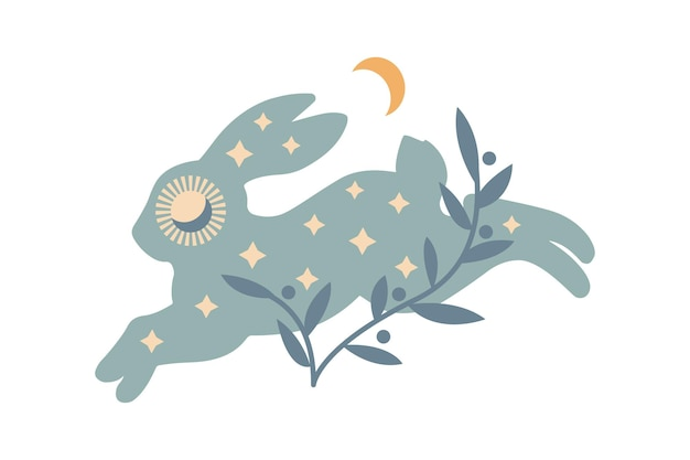 Abstract running bunny with stars, moon, branch isolated on white background. boho vector illustration. mystery symbols. design for birthday, party, clothing prints, greeting cards.