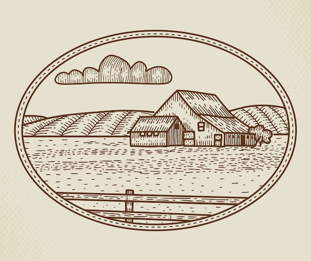 Abstract  rural farm sign, badge or logo template. rustic landscape sketch in a frame with retro typography. fields, bard and other countryside buildings vintage emblem. isolated.