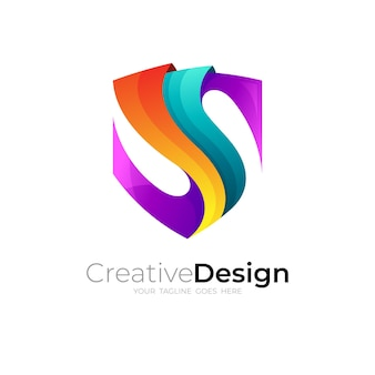 Abstract s shield logo, colorful style