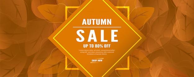 Abstract sale banner for autumn season.