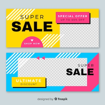 Abstract sale banner collection with photo