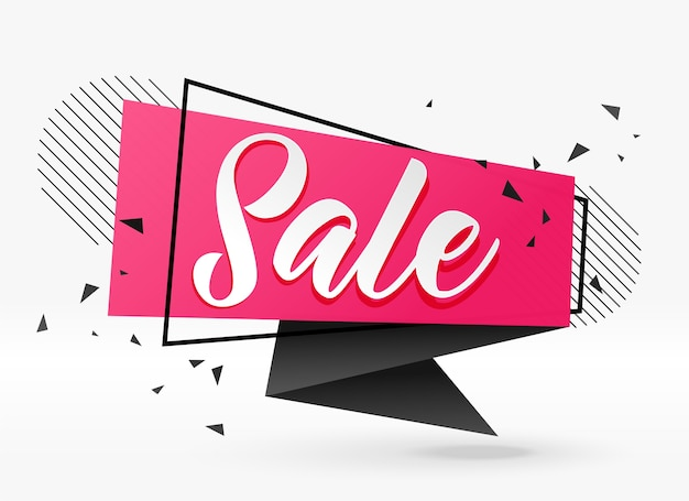 Abstract sale banner in geometric chat bubble style