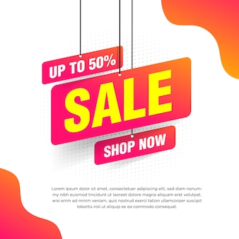 Abstract sale banner with orange gradient for special offers, sales and discounts illustration